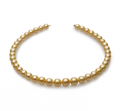 9-12mm AA Quality South Sea Cultured Pearl Necklace in 18-inch Gold