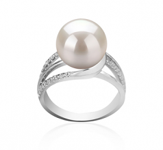 10-11mm AAAA Quality Freshwater Cultured Pearl Ring in Layana White