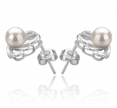 5-6mm AAAA Quality Freshwater Cultured Pearl Earring Pair in Princess White
