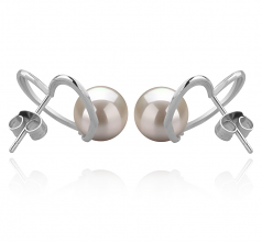 7-8mm AAAA Quality Freshwater Cultured Pearl Earring Pair in Vanessa White
