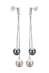 7-8mm AAAA Quality Freshwater Cultured Pearl Earring Pair in Brenda Black