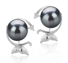 7-8mm AA Quality Japanese Akoya Cultured Pearl Earring Pair in Gilda Black
