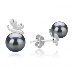 7-8mm AA Quality Japanese Akoya Cultured Pearl Earring Pair in Marsha Black