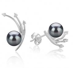 6-7mm AA Quality Japanese Akoya Cultured Pearl Earring Pair in Rosie Black