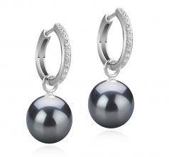 10-11mm AAA Quality Tahitian Cultured Pearl Earring Pair in Rosalind Black