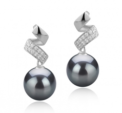9-10mm AAA Quality Tahitian Cultured Pearl Earring Pair in Blair Black
