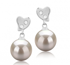 8-9mm AAAA Quality Freshwater Cultured Pearl Earring Pair in Taima White