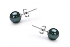 6-7mm AA Quality Japanese Akoya Cultured Pearl Earring Pair in Black