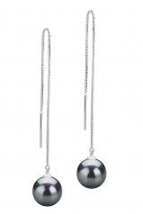 8-9mm AAAA Quality Freshwater Cultured Pearl Earring Pair in Dottie Black