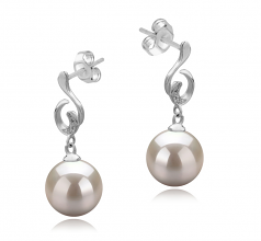 8-9mm AAAA Quality Freshwater Cultured Pearl Earring Pair in Priscilla White