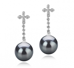 10-11mm AAA Quality Tahitian Cultured Pearl Earring Pair in Raquel Black