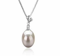 9-10mm AAA Quality Freshwater Cultured Pearl Pendant in Alaska White