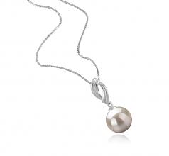 9-10mm AAAA Quality Freshwater Cultured Pearl Pendant in Shamara White