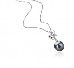 9-10mm AAA Quality Tahitian Cultured Pearl Pendant in Braith Black