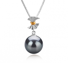 9-10mm AAA Quality Tahitian Cultured Pearl Pendant in Belva Black