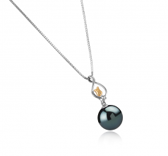 11-12mm AAA Quality Tahitian Cultured Pearl Pendant in Caresse Black