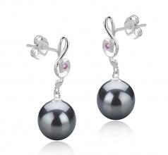 9-10mm AAA Quality Tahitian Cultured Pearl Earring Pair in Cheryl Black