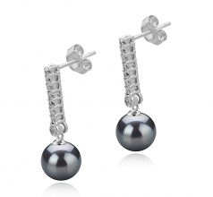10-11mm AAA Quality Tahitian Cultured Pearl Earring Pair in Verna Black