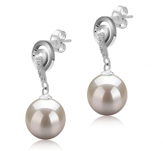 8-9mm AAAA Quality Freshwater Cultured Pearl Earring Pair in Madonna White
