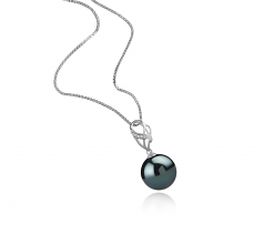 11-12mm AAA Quality Tahitian Cultured Pearl Pendant in Moira Black