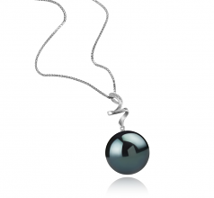 12-13mm AAA Quality Tahitian Cultured Pearl Pendant in Lydia Black