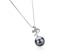 10-11mm AAA Quality Tahitian Cultured Pearl Pendant in Bridget Black