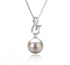 9-10mm AAAA Quality Freshwater Cultured Pearl Pendant in Hazel White