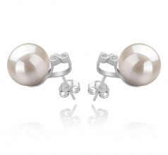 10-11mm AAAA Quality Freshwater Cultured Pearl Earring Pair in Hailey White
