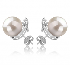 10-11mm AAAA Quality Freshwater Cultured Pearl Earring Pair in Berry White