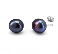 10-11mm AAA Quality Freshwater Cultured Pearl Earring Pair in Black