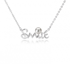 5-6mm AAAA Quality Freshwater Cultured Pearl Necklace in Smile White
