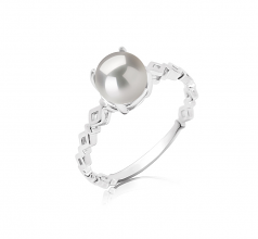 7.5-8mm AAAA Quality Freshwater Cultured Pearl Ring in Dawn White