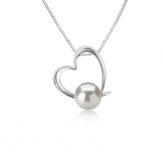 10-11mm AAAA Quality Freshwater Cultured Pearl Pendant in Miranda White