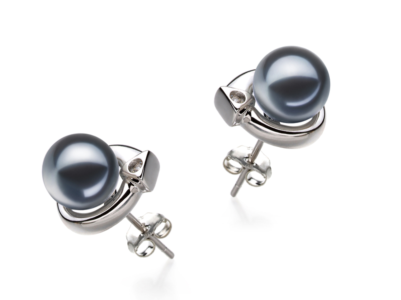 7-8mm AAAA Quality Freshwater Cultured Pearl Earring Pair in Angelina Black
