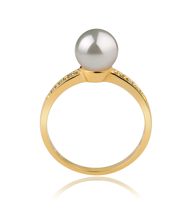 7.5-8mm AAA Quality Japanese Akoya Cultured Pearl Ring in Anne White