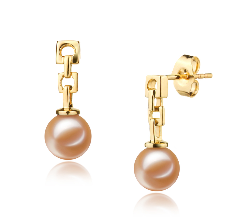 6-7mm AAAA Quality Freshwater Cultured Pearl Earring Pair in Anya Pink