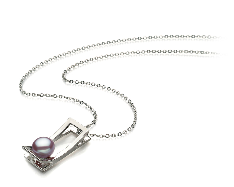 7-8mm AA Quality Freshwater Cultured Pearl Pendant in Athena Lavender