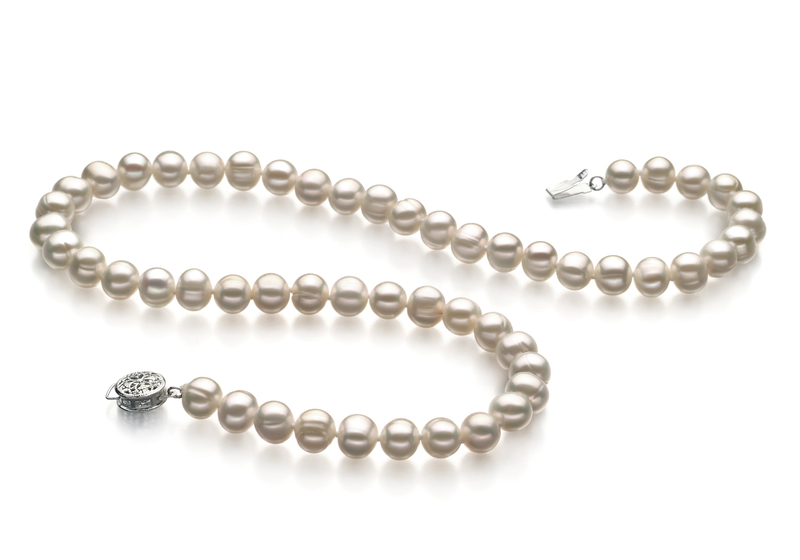 6-7mm A Quality Freshwater Cultured Pearl Necklace in Bliss White
