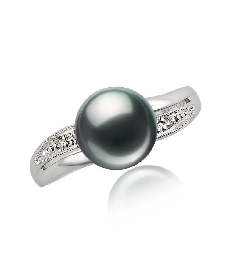 7-8mm AAA Quality Japanese Akoya Cultured Pearl Ring in Caroline Black