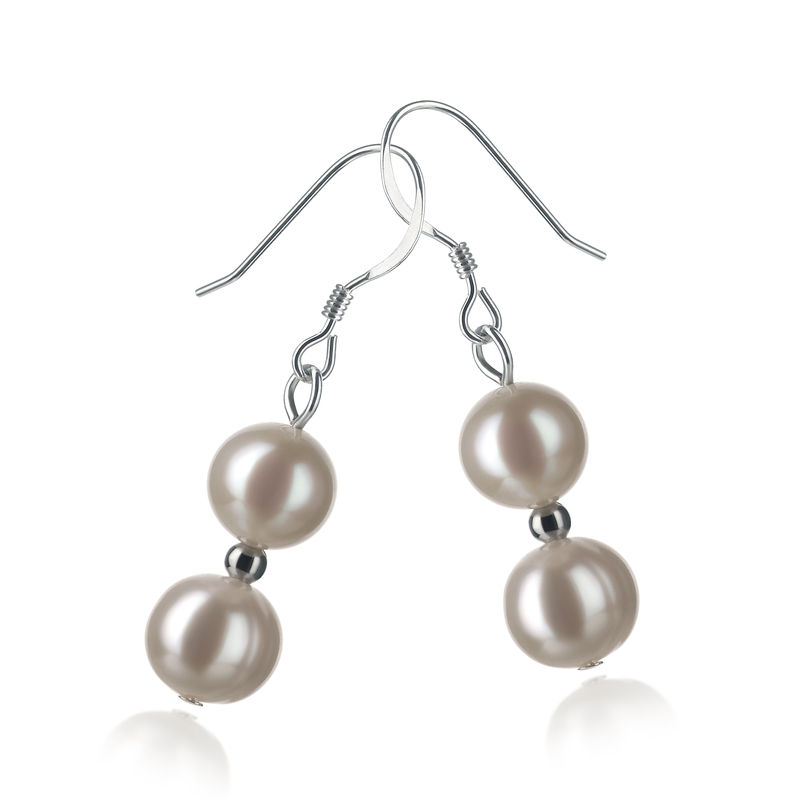 6-7mm A Quality Freshwater Cultured Pearl Earring Pair in Cerella White