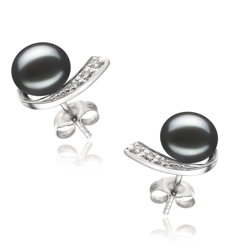 7-8mm AA Quality Freshwater Cultured Pearl Earring Pair in Claudia Black