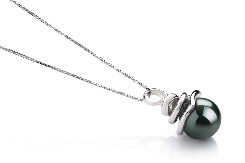 8-9mm AAA Quality Tahitian Cultured Pearl Pendant in Demetria Black
