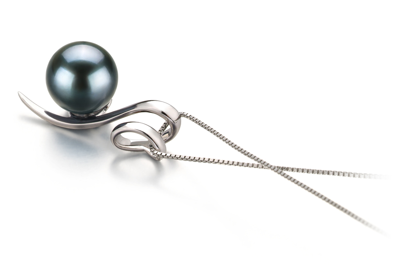 8-9mm AA Quality Japanese Akoya Cultured Pearl Pendant in Dionne Black