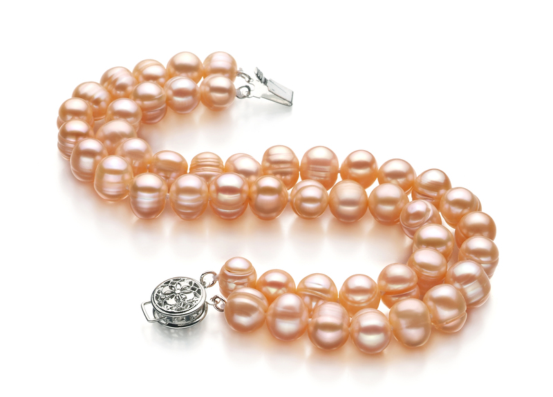 6-7mm A Quality Freshwater Cultured Pearl Bracelet in Double Strand Pink