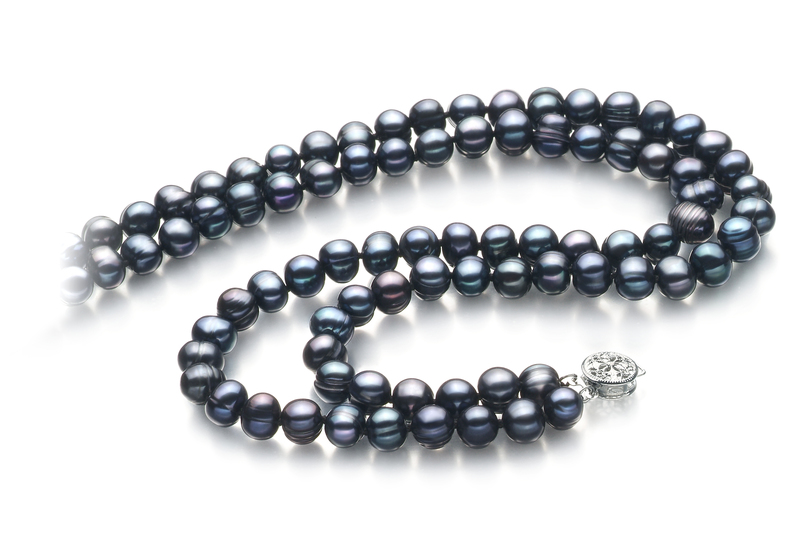 6-7mm A Quality Freshwater Cultured Pearl Necklace in Double Strand Black