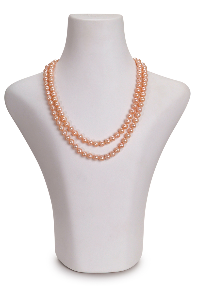 7-8mm AA Quality Freshwater Cultured Pearl Necklace in Double Strand Pink