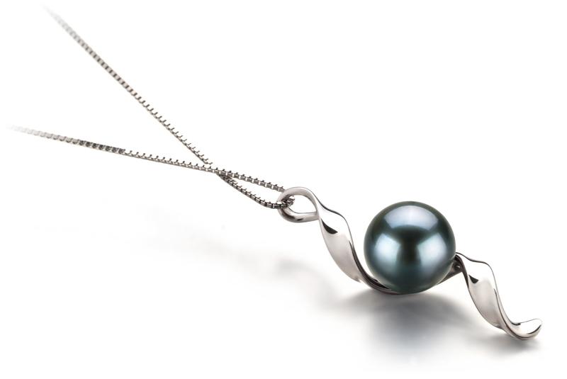 7-8mm AA Quality Japanese Akoya Cultured Pearl Pendant in Elva Black