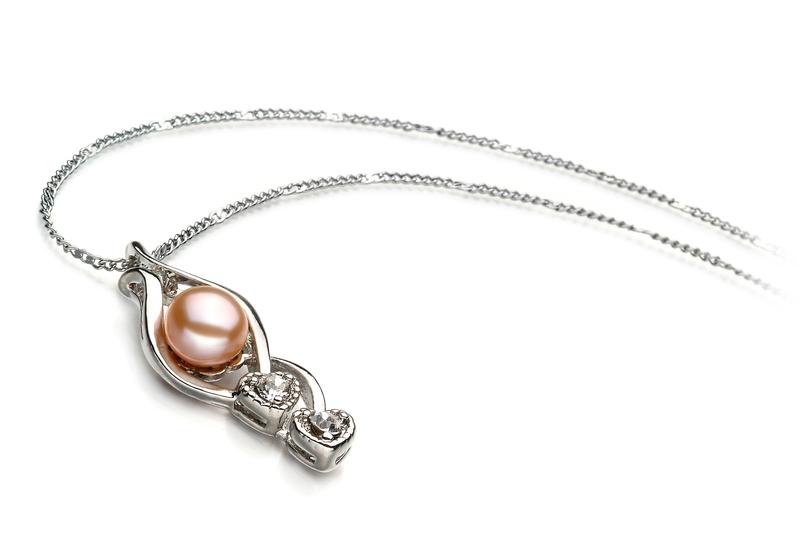 Eudora Pink 7-8mm AA Quality Freshwater White Bronze Pearl Pendant