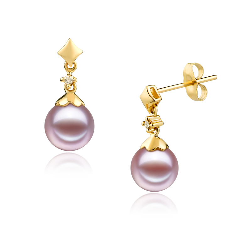 7-8mm AAAA Quality Freshwater Cultured Pearl Earring Pair in Georgia Lavender