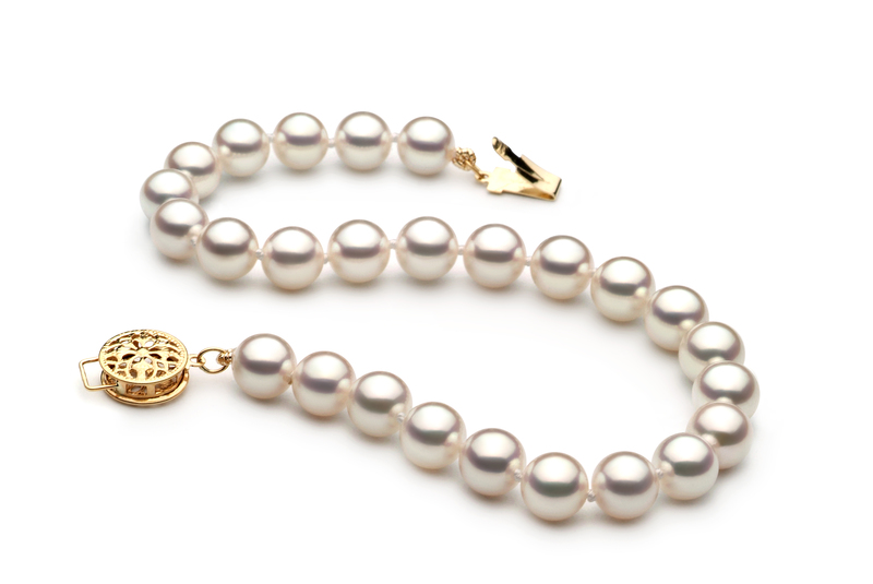 6.5-7mm Hanadama - AAAA Quality Japanese Akoya Cultured Pearl Bracelet in Hanadama 7-inch White